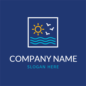 White Square and Abstract Sea logo design