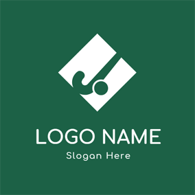 White Square and Green Hockey Stick logo design