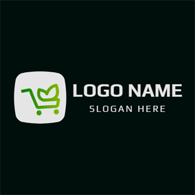 White Square and Green Shopping Cart logo design