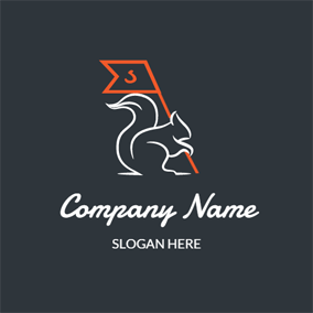 White Squirrel and Orange Flag logo design