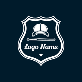 White Star and Baseball Cap logo design