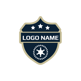 White Star and Blue Police Shield logo design