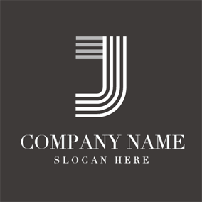 White Stripe and Letter J logo design