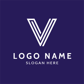 White Stripe Letter V logo design