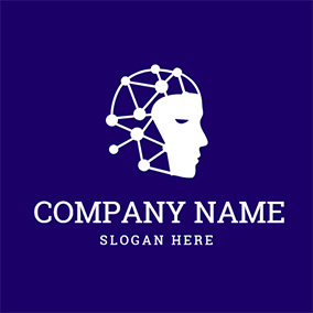 White Structure and Human Brain logo design