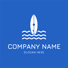 White Surfboard and Wave logo design