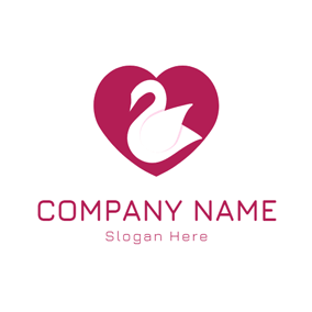 White Swan and Red Heart logo design