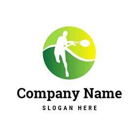 White Tennis Racket and Player logo design