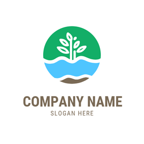 White Tree and Blue River logo design