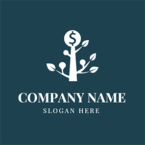 White Tree and Dollar Coin logo design