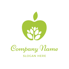 White Tree and Green Apple logo design