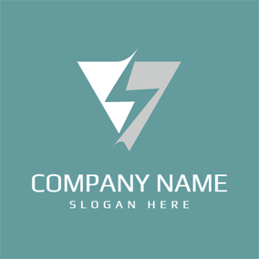 White Triangle and Blue Lightening logo design