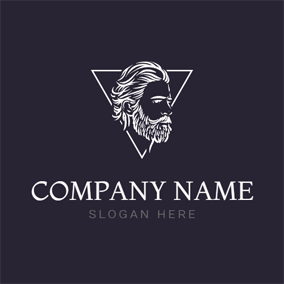 White Triangle and Hipster logo design