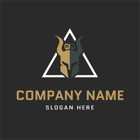 White Triangle and Horned Head logo design