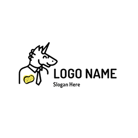 White Unicorn Cartoon Image logo design