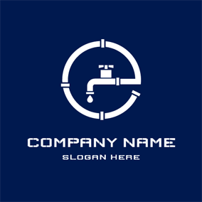 White Water Faucet and Plumbing logo design
