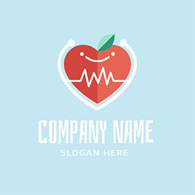White Wave and Red Apple logo design
