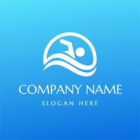 White Wave and Swimming Man Icon logo design