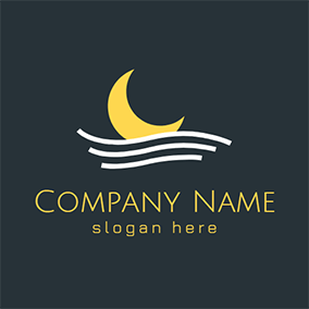 White Wave and Yellow Moon logo design