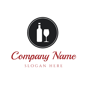 White Wine Glass and Winebottle logo design