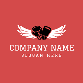 White Wing and Boxing Glove logo design