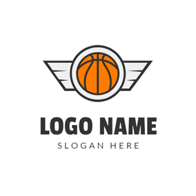 White Wing and Orange Basketball logo design