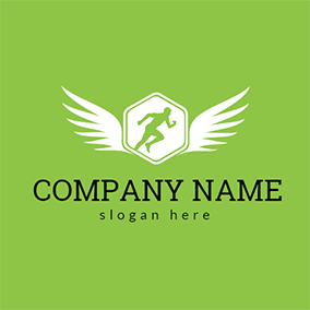 White Wing and Running Man logo design