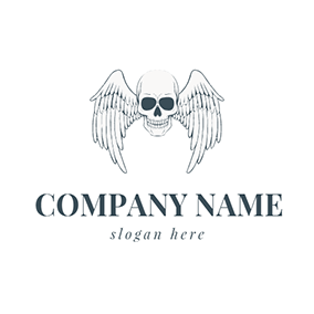 White Wing and Skull Icon logo design
