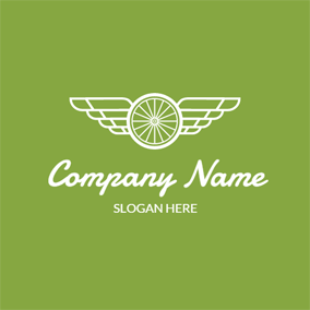 White Wings and Bike Wheel logo design