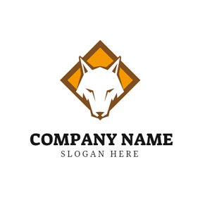 White Wolf Face logo design