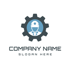 White Worker and Black Gear logo design