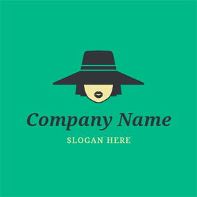Wide Brim Hat Female Hipster logo design