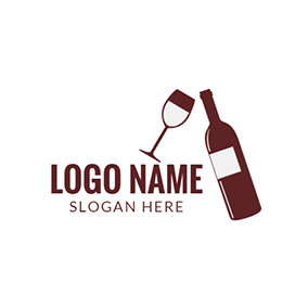 Free wine logo designs designevo logo maker wine glass and brown winebottle logo design voltagebd Image collections
