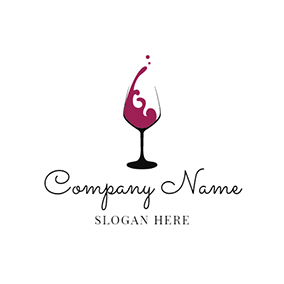 Wine Glass and Red Wine logo design