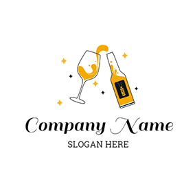 Wine Glass and Yellow Wine logo design