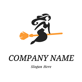 Witch and Broom logo design