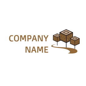 Wooden and Carpenter Icon logo design