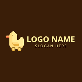 Wooden Yellow Duck logo design