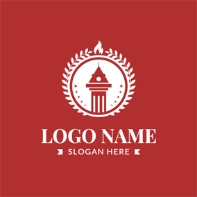 Wreath Encircled Bell Tower and Flame logo design
