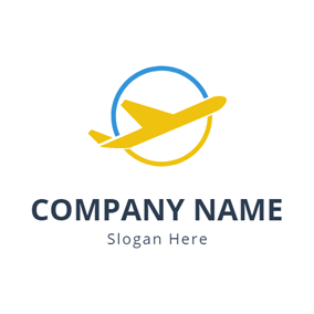Yellow Airplane and Blue Circle logo design