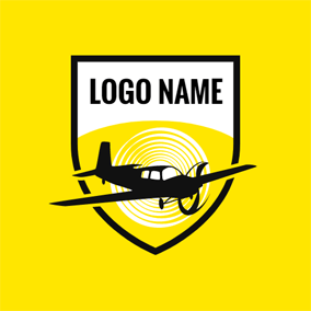 Yellow and Black Airplane logo design