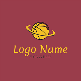 Yellow and Black Basketball Icon logo design