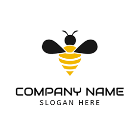 Yellow and Black Bee Icon logo design