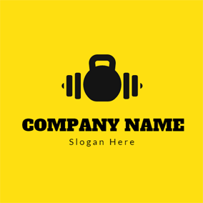 Yellow and Black Bodybuilding Equipment logo design