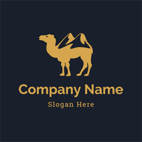 Yellow and Black Camel Icon logo design