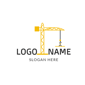 Yellow and Black Crane Icon logo design