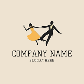 Yellow and Black Opera Dancer logo design