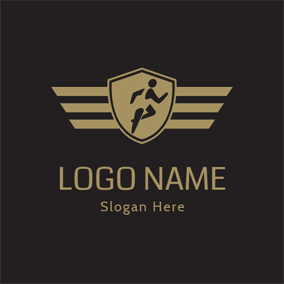 Yellow and Black Running Badge logo design