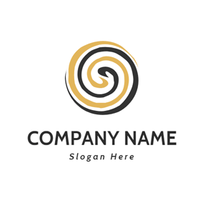 Yellow and Black Spiral Round logo design