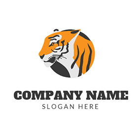Yellow and Black Tiger Head logo design